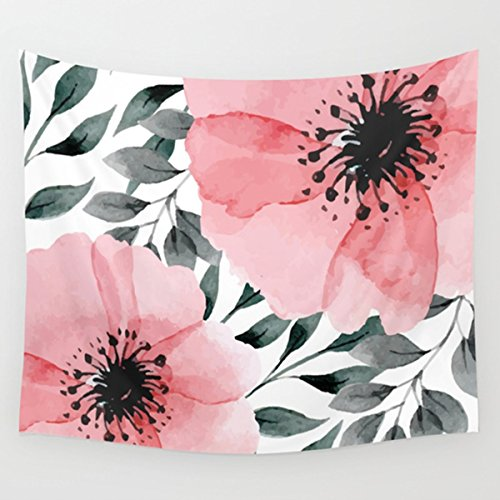 Shukqueen Tapestry,Watercolor Pink Dahlia Flower Wall Hanging Tapestry Dorm Decor (60