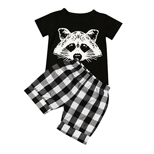 (TIFENNY Baby Boy Fox T Shirt Tops Plaid Shorts Pants Outfits Clothes Set (4T) Black)