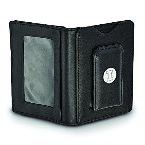 Illinois Sterling Silver Sterling Black Silver Leather Leather Wallet Black Illinois Wallet Illinois Leather Black 8TwqB