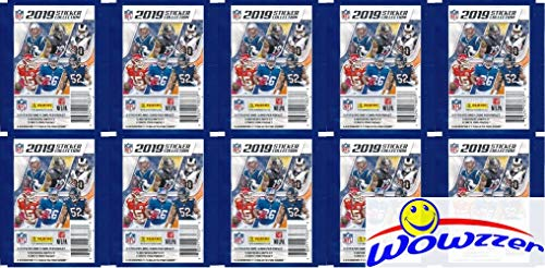 2020 Panini - 2019 Panini NFL Football Stickers Collection of 10 Factory Sealed Sticker Packs with 50 MINT Stickers & 10 Cards! Look for Cards & Stickers of Patrick Mahomes, Tom Brady, Kyler Murray & More! WOWZZER!