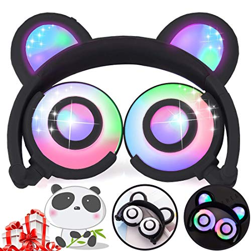 Kids Bear Ear Headphones, On/Over Ear Headsets for Boys Girls Back to School Supplies, Wired Foldable Headphones Glow in The Dark 85dB Volume Limiting for Toddler Teen Student Travel Birthday Gifts