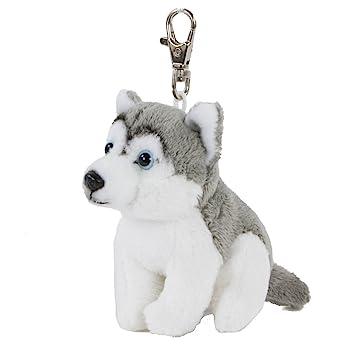 Llavero de peluche perro Husky 9 cm gris/blanco felpa Husky Peluche Sentado