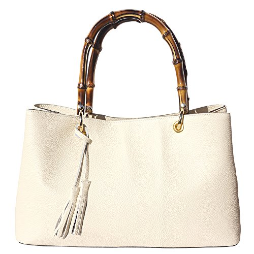 Hardware Beige Metal 9139 And With Bags Handle Veronica Bamboo Golden Leather Handbag 1gzw8P