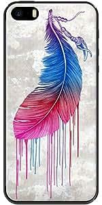 La Kase Collection–Carcasa para Apple iPhone 5/5S, transparente, revestimiento de silicona Rainbow plumas por Rachel Caldwell transparente tamaño único