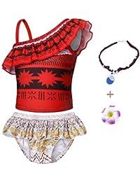 AmzBarley Girls Moana Swimwear Swimsuits Kids Two Piece Beach Sports Pool Party Swimming Suit Bikini Set Holiday Sunsuit with Accessories Size 3T