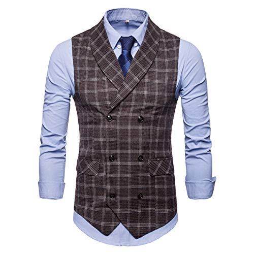 Men's Plaid Tweed Suit Vest Double-Breasted Casual Waistcoat Shawl Lapel Business Suit Vest Coffee ()