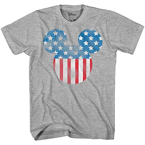 Disney Mickey Mouse Americana Flag Tee Funny Humor Disneyland Graphic Adult T-Shirt(Heather -