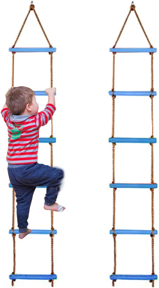 Flyzy Climbing Ladder for Kids Indoor Climbing Rope Ladder for Swing Set,Ninja Obstacle Course Accessories,Tree Climbing Rope for Backyard Outdoor(Blue)