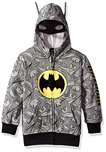 DC Comics Little Boys' Hooded Sweatshirt, Gray, 7