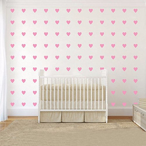 JOYRESIDE 2inchx100 Pieces DIY Heart Wall Decal Vinyl Sticker For Baby Kids Children Boy Girl Bedroom Decor Removable Nursery Decoration (Soft (Diy Wall Decals)