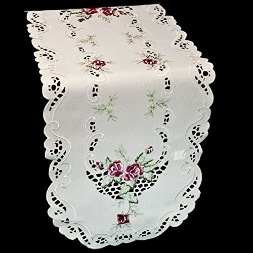 Embroidered Small Red/Burgundy Rose Table or Dresser Runner 16