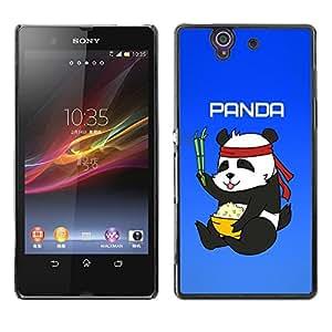 TopCaseStore / la caja del caucho duro de la cubierta de protección de la piel - Panda Chinese Food Rice Bamboo Bear Cute - Sony Xperia Z L36H C6602 C6603 C6606 C6616