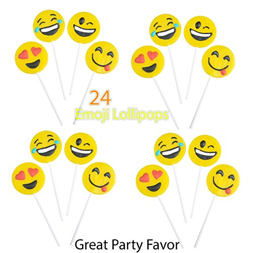 4E's Novelty Pack of 24 Yellow Emoji Face Lollipops 4