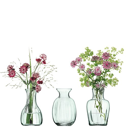 LSA International Mia Recycled Part Optic X 3 Mini Vase Trio, H4.25