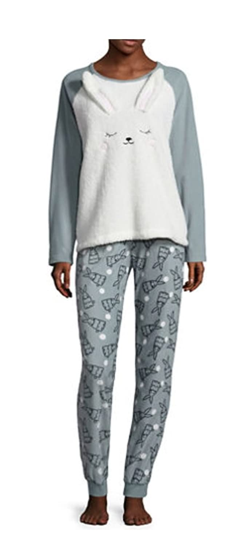 Womens Juniors Peace Love Fashion 2 pc Fleece Bunny Pajamas at Amazon Womens Clothing store: