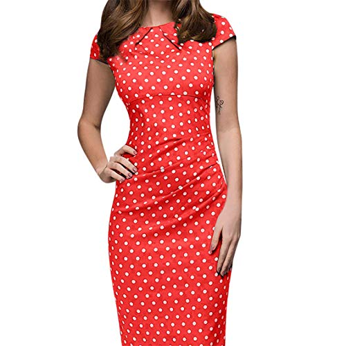 Aotifu Women's Short Sleeve Elegant Polka Dot Belt and Knee Long Casual Dress Skinny Retro Bag Hip Dress(Red ,M)