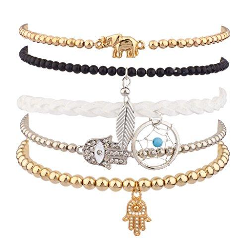 [Lux Accessories Elephant Metal Leaf Pave Hamsa Evil Eye Dreamcatcher Arm Candy Stretch Bracelet Set] (Arm Candy Costume)