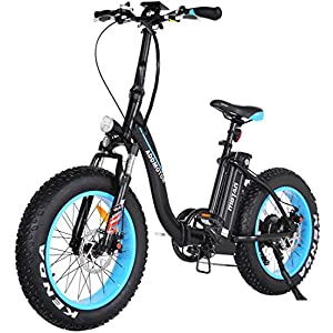 Folding Electric Bicycles 48V 500W Motor Low Step Through Ebikes For Adults 20 Inch Fat Tire Mini Foldable Electric Bikes 10.4 Ah Lithium Battery Front Suspension Fork Snow Beach M-140 2018 (Blue)