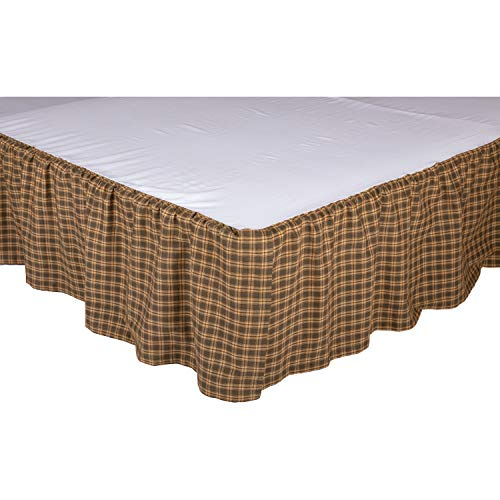 VHC Brands Rustic Cedar Ridge Cotton Split Corners Gathered Plaid Queen Bed Skirt, ()