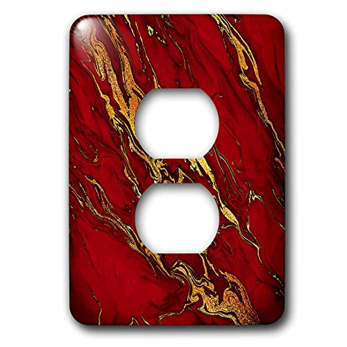 3dRose Uta Naumann Faux Glitter Pattern - Luxury Red Gold Gem Stone Marble Glitter Metallic Faux Print - Light Switch Covers - 2 plug outlet cover (lsp_268833_6) by 3dRose