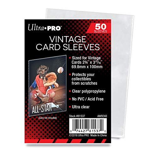 Ultra Pro Vintage Card Sleeves - Clear Sleeves For Vintage Baseball Cards and Memorabilia, 50 Count - Pack of 3