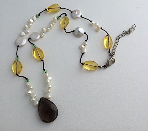 White FW Cultured Pearl & Crystal Knotted Necklace, Crystal Pendant, 20