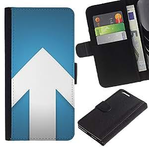 "WINCASE (No Para IPHONE 6, 4.7"") Cuadro Funda Voltear Cuero Ranura Tarjetas TPU Carcasas Protectora Cover Case Para Apple Iphone 6 PLUS 5.5 - flecha diseño minimalista blanco azul"