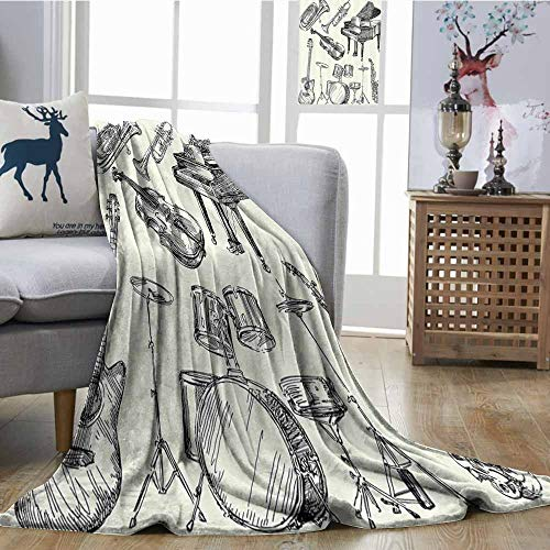Zmcongz Reversible Blanket Jazz Music Decor Collection of Musical Instruments Sketch Style Art with Trumpet Piano Guitar Ultra Soft and Warm Hypoallergenic W54 xL84 Beige Black ()