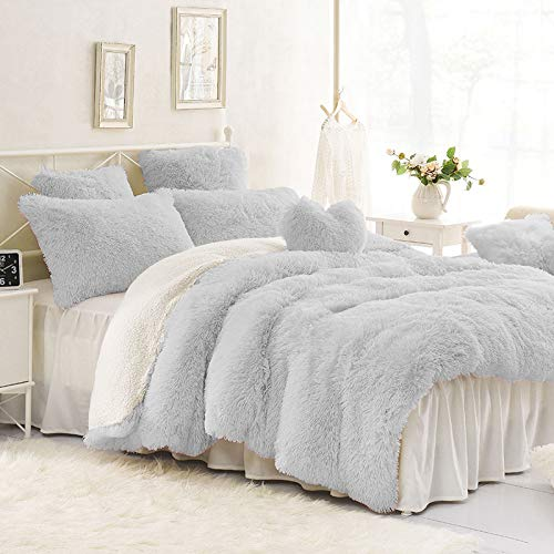 (Sleepwish Shaggy Plush Grey Duvet Cover 2 Shams Velvet Gray Bedding Modern Contemporary Fur Decor Queen)