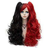 Probeauty Lolita Mix Color Wigs Long Curly Ponytail Women Anime Cosplay Wig + Wig Cap (Red Mix Black Harley Quinn Wig)