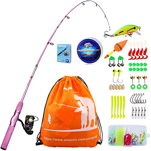 YONGZHI Kids Fishing Pole with Spinning Reels,Telescopic Fishing Rod,Shoulder Pocket,Manual,Full Kits Tackle Box for Travel Freshwater Bass Trout Fishing ()