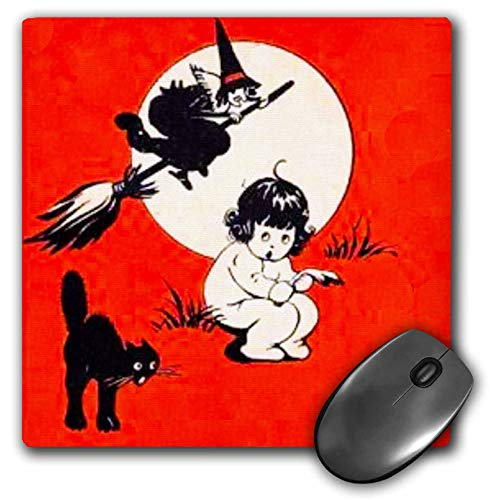 3dRose Scenes from The Past Magic Lantern - Vintage Halloween Baby Girl Black Cat Witch Scary Cute 1920 - Mousepad (mp_246278_1) -