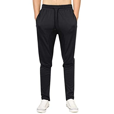193d8861da95 KaloryWee Mens Zip Jogger Trousers Casual Gym Fitness Tracksuit Bottoms  Slim Fit Chinos Sweat Pants