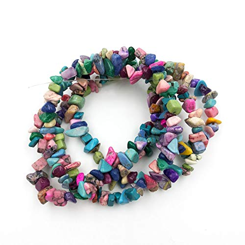Howlite Chip Beads - favoramulet Mulitcolor Howlite Turquoise Irregular Tumbled Chips Loose Beads Strand for Jewelry Making