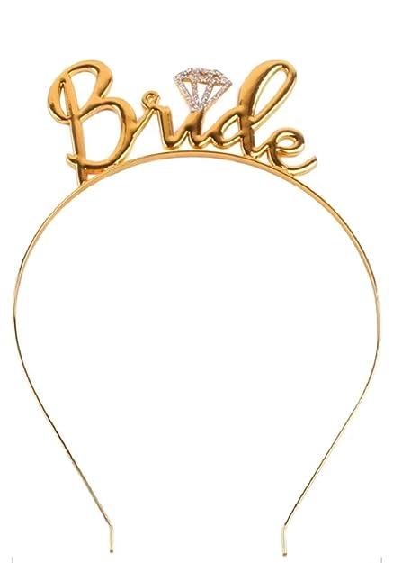 b230bfa31 Ziory Gold Plated Crystal Team Bride Bridesmaid Tiara Crown Princess  Headband Bachelorette Hen Party  Bride