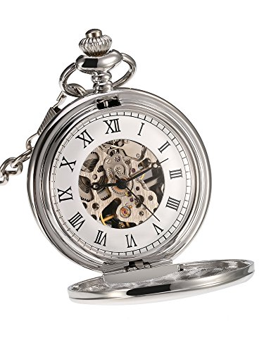 Mudder Classic Smooth Surface Mechanical Pocket Watch with Chain Xmas Birthday Weeding Father Day Gift (Silver) (Watch Antique Pocket)