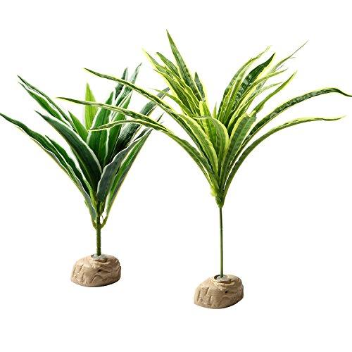 MEWTOGO Pack of 2 Habitat Decor Plastic Plants for Reptiles and Amphibians - Medium