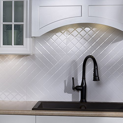 Fasade Easy Installation Quilted Gloss White Backsplash Panel for Kitchen and Bathrooms (18