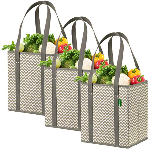 - Reusable Grocery Shopping Box Bags (3 Pack - Chevron). Stylish, Premium Quality, Heavy Duty Tote Set with Extra Long Handles & Reinforced Bottom. Foldable, Collapsible, Durable and Eco Friendly