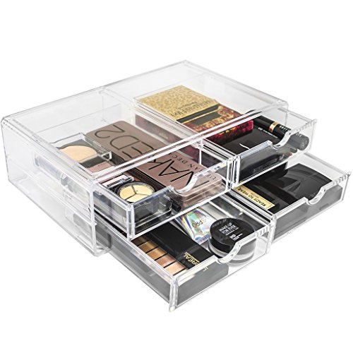 Sorbus Acrylic Cosmetics Makeup and Jewelry Storage Case X-Large Display Sets -Interlocking Scoop Drawers Create Your Own Makeup Counter -Stackable and Interchangeable ()