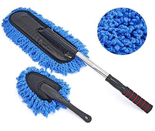 ocharzy Microfiber Car Duster Exterior Interior Cleaner with Extendable Handle (Mop Duster Kit, -