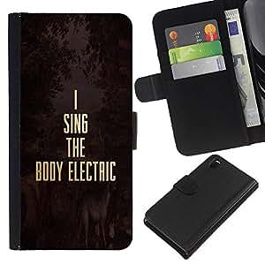EJOY---La carpeta del tirón la caja de cuero de alta calidad de la PU Caso protector / Sony Xperia Z3 D6603 / --Música eléctrica Oro Texto motivación