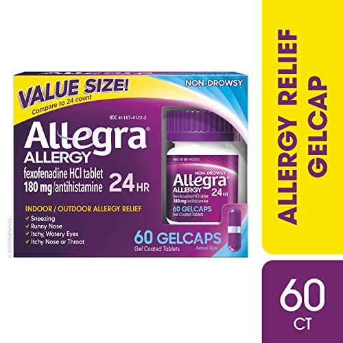 Allegra Allergy 24 Hour Gelcaps 180 mg 60 Count Long-Lasting Fast-Acting Antihistamine for Noticeable Relief from Indoor and Outdoor Allergy Symptoms (Fexofenadine Hcl 60 Mg Pseudoephedrine Hcl 120 Mg)