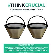 2 Cuisinart Washable & Reusable GTF Gold Tone Coffee Filters, Fits Cuisinart Models DDC-2600, DCC-2700, DCC-1100, DCC-1150, DCC-1000BK, DTC-975BKN, DCC-750 Series, DCC-1100 Series DCC-1200 Series, Designed and Engineered by Crucial Coffee