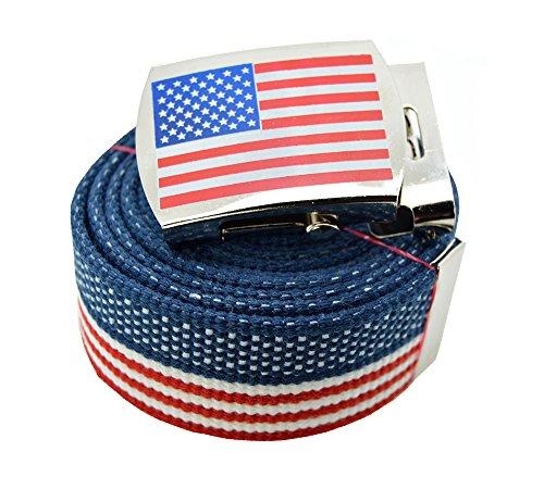 - ACCmall Canvas Military Web Novelty, Flag, Soccer Team Belt & Buckle (USA Flag, 48 inch)
