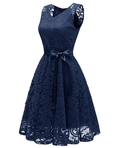 Sleeveless Dress Navy Women KAXIDY blue Cocktail Ball Neck Gown Vintage Swing Lace Floral V 1950s 54zWzBSqZO