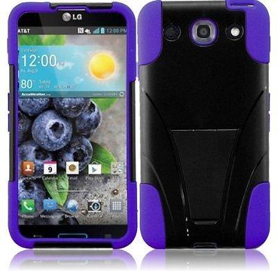 Dual Hybrid T-Stand Case for LG Optimus G Pro E980 - Purple/Black