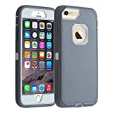 Co-Goldguard iPhone 6s Plus/ 6 Plus Case,Heavy Duty Armor 3 in 1 Rugged Cover with Front Frame Dust-Proof Shockproof Drop-Proof Scratch-Resistant Anti-Slip Shell for iPhone 6+/6s+ 5.5 inch,Gray/White