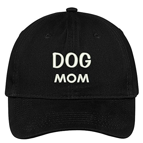 Deluxe Cotton Cap - Trendy Apparel Shop Dog Mom Embroidered Low Profile Deluxe Cotton Cap Dad Hat - Black