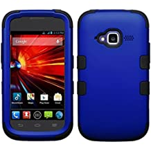 Asmyna Titanium TUFF Hybrid Phone Protector Cover for ZTE Z730 Concord II - Retail Packaging - Dark Blue/Black